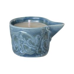 French Country Home ceramic soy wax spout candle linen bag BLUE