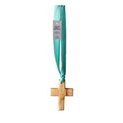 Deluxe scented wooden cross on ribbon 125mm x 90mm