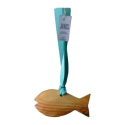 Deluxe wooden scented fish on ribbon 165 x 90mm