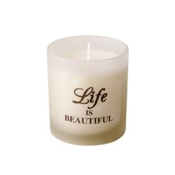 Aroma glass candle in a gift box with a ENGLISH QUOTES