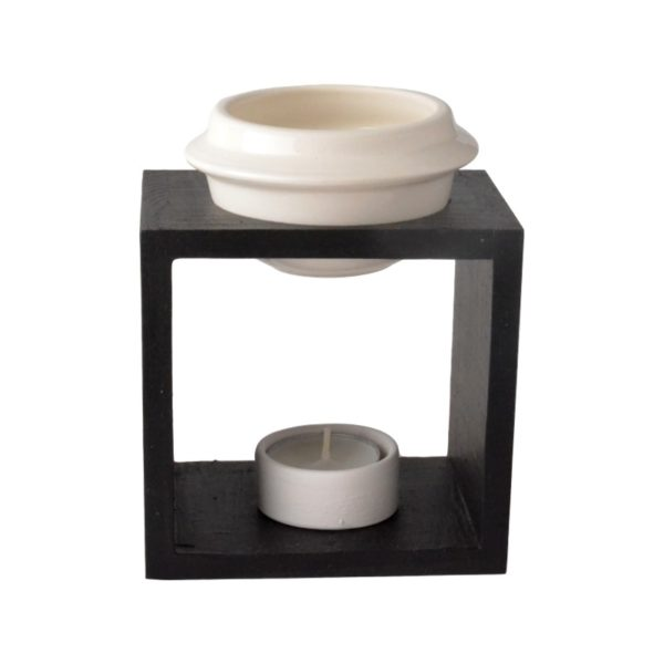 Wooden burner bowl and ceramic tea light candle holder - BLACK