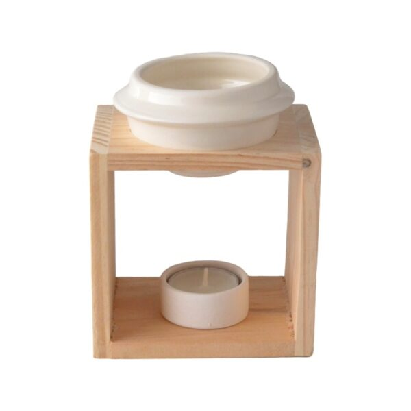 Wooden burner bowl and ceramic tea light candle holder - PLAIN