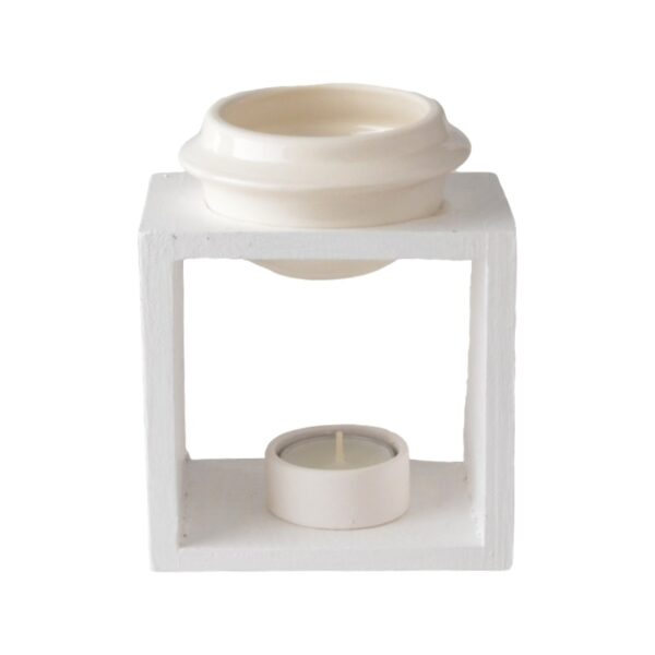 Wooden burner bowl and ceramic tea light candle holder - WHITE