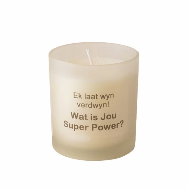 Aroma glass candle in a gift box with a AFRIKAANS QUOTE
